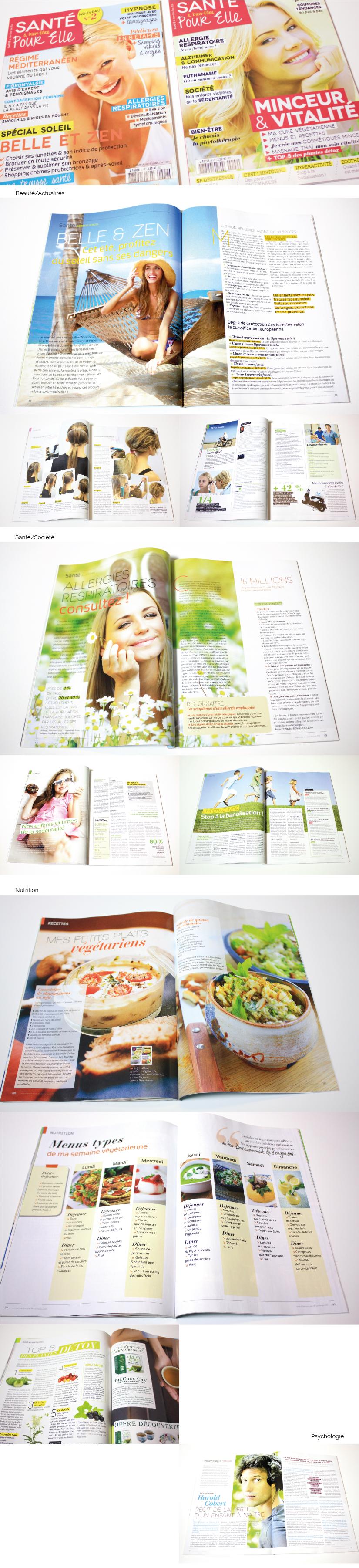 Da mise en page magazine kiosque féminin santé